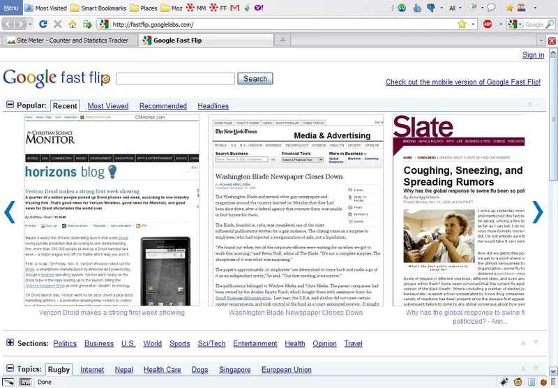 Google Fast Flip: Speedy News Browsing