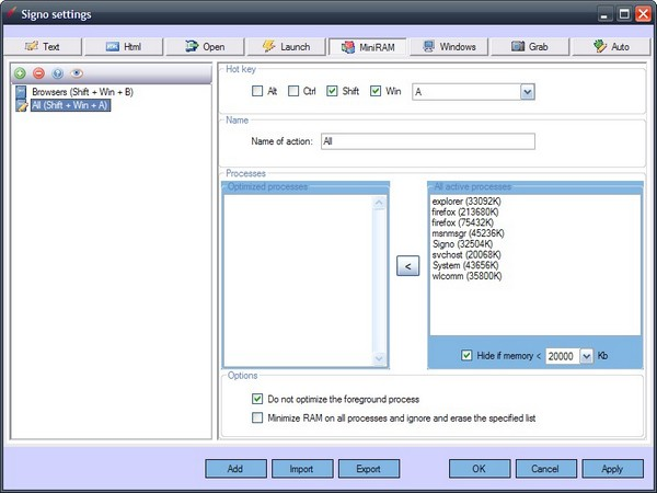 Signo: Freeware Hotkey Manager