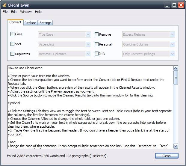 Freeware CleanHaven Dusts Off Your Text