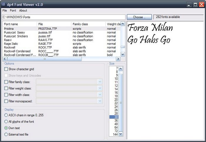 Freeware Font Manager: dp4 Font Viewer