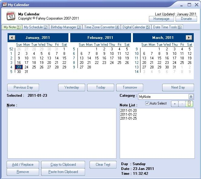 My Calendar: Freeware Calendar And Date Utility
