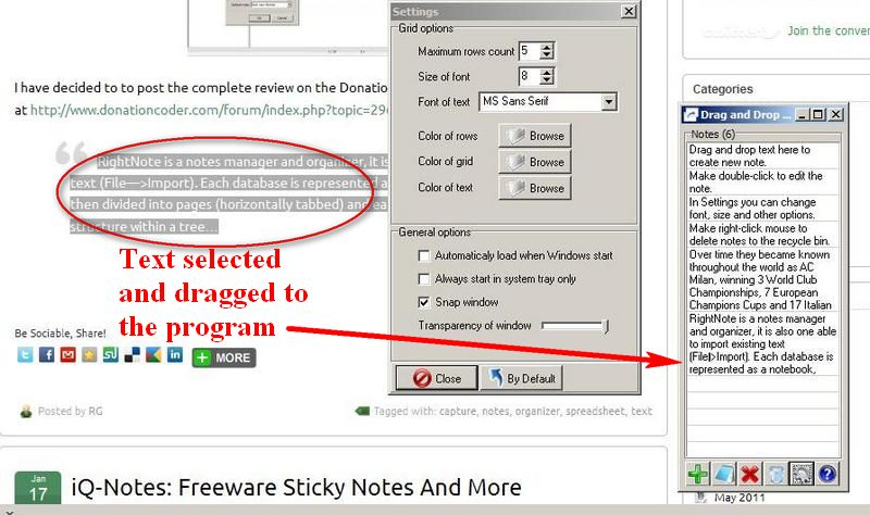 Drag And Drop Notes: Freeware Notes Repository
