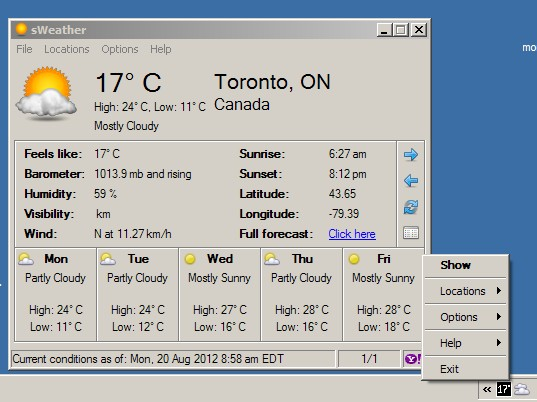 The Weather On Your Desktop with sWeather