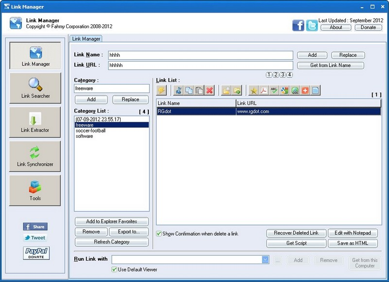 Link Manager: Freeware Bookmark And URL Manager