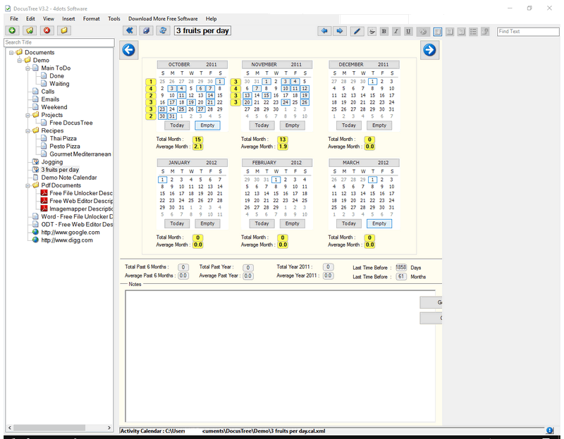 DocusTree: Freeware Documents And Notes Organizer